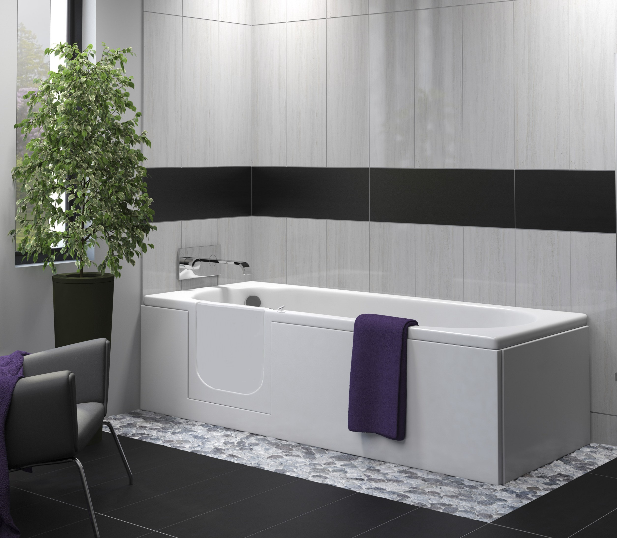 bath with easy access door