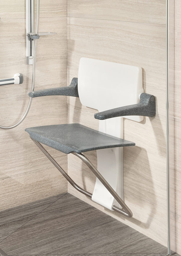 Slimfold shower seat granite
