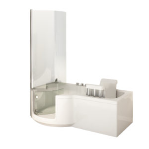Aquamarine P shaped power bath
