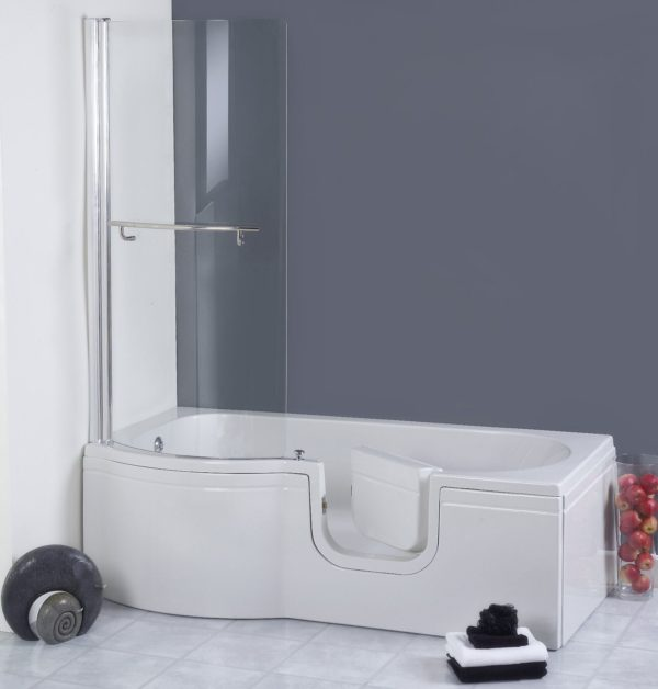P shape walk in shower bath